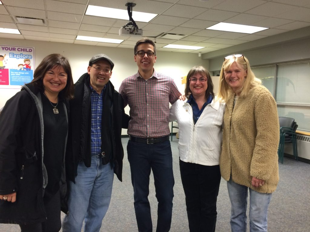 One of the best (and most fun!) things about being a writer is hanging out with my fellow authors. Left to right: Karen Spafford-Fitz (Vanished), Marty Chan (Infinity Coil: Ehrich Weisz Chronicles), Sheldon Casavant (Morton the Magician), Joan Galat (Branching Out), & Lorna Schultz Nicholson (Hoop Dreams).